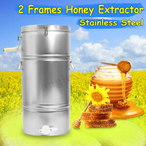 Large 2 Frame Stainless Steel Honey Bee Extractor Beekeeping Equipment 0 9mm