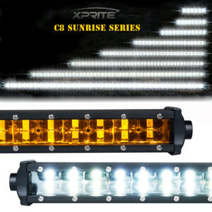 Xprite Led Light Bar Amber Double Row Sunrise Series Sbacklight Truck Off Road