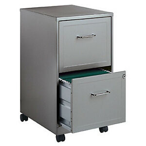 Office Designs Metallic Silver 2 drawer Mobile File Cabinet