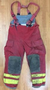 Firefighter Red Bunker Turnout Pants W Suspenders 38 X 30 Globe
