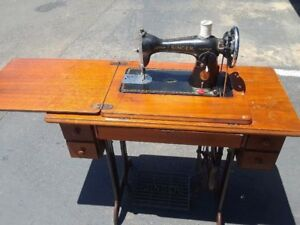Vintage 1936 Singer Treadle Sewing Machine With Cabinet And Cast Iron Frame Base