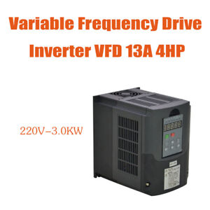 Vfd Variable Frequency Drive Inverter 3kw 220v 4hp 13a New