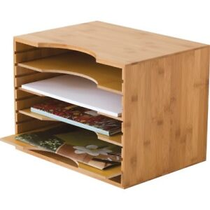 Lipper Bamboo File Organizer With 4 Dividers