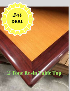 Restaurant Resin Table Top In 2 Tone mahogany cherry Finish Quickship All Siz