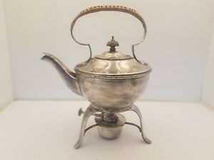 Vintage Silver Plated Gu Epns 5764 Teapot W Bamboo Cover Handle