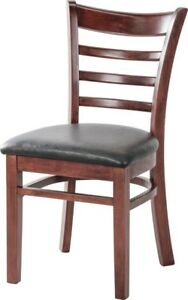 Restaurant Ladder Back Wooden Restaurant Chair With Black Vinyl Seat Quick Ship