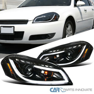 For Chevy 06 13 Impala 06 07 Monte Carlo Pearl Black Led Drl Projector Headlight