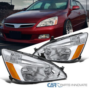 Fit 03 07 Honda Accord 2 4dr Jdm Replacement Clear Headlights Head Lamps Pair