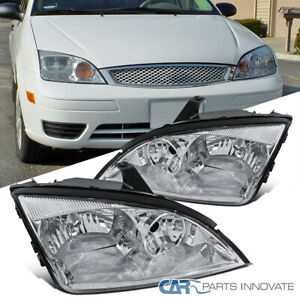 2005 2007 Ford Focus Zx4 St Replacement Chrome Clear Headlights Head Lamps Pair
