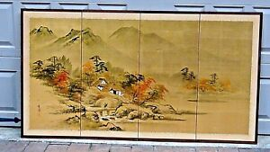 Antique Japanese 4 Panel Watercolor On Gold Silk Screen W Village Near Water