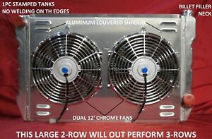 Universal Radiator Chevrolet gm Cross Flow Shroud 12 High Cfm Fans 31 X 19