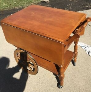 Hartshorn Serving Drop Leaf Table Tea Cart With Tray