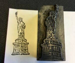 Vtg Lady Statue Of Liberty Ny Letter Standing Press Wooden Printing Block