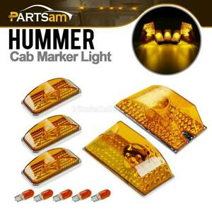 5pcs Amber Roof Clearance Top Marker Lights Yellow Bulbs For 2003 2009 Hummer H2