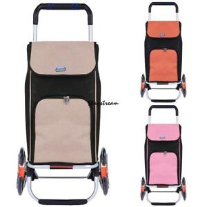 6 Wheels Upgraded Folding Shopping Cart Stair Climbing Grocery Laundry Cart bag