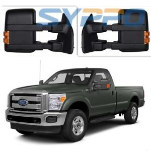For 99 16 Ford F250 Super Duty Pair Side Towing Manual Mirrors Led Amber Signal