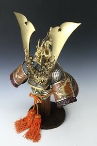 Japanese Samurai Helmet Dragon And Hawk Deco Kabuto With A Mask