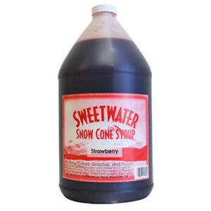 Sweetwater Snow Cone Syrup 1 gallon Bottle case Of 4 Strawberry