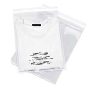 100 12x18 Poly Bags Resealable Suffocation Warning Clear Merchandise 1 5 Mil