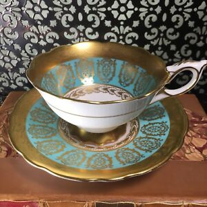 Exquisite Royal Stafford Turquoise Blue Green Gold Tea Cup Saucer Set
