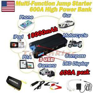 600a Lcd Car Jump Starter Portable Auto Battery Charger Power Bank Booster Blue