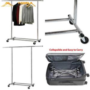Heavy Duty Clothing Garment Rack Movable Collapsible Elegant Chrome Finish New