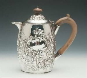 Victorian Sterling Silver Coffee Pot Jug Hand Chased Birmingham England 1879