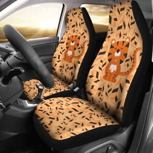 Cute Lion Car Seat Cover Brown Set Of 2