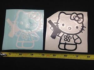 X2 Hello Kitty Gun 4 Black White Vinyl Sticker Decal Car Truck Window Control