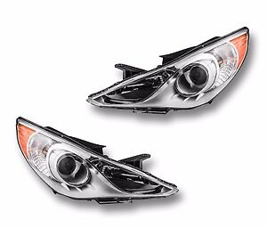 Fits 11 13 Hyundai Sonata Driver Passenger Side Headlight Lamp Assembly 1 Pair