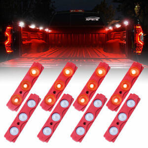Xprite 16pc Red Led Light Pod Strip Waterproof Decorative Cargo Bed Truck