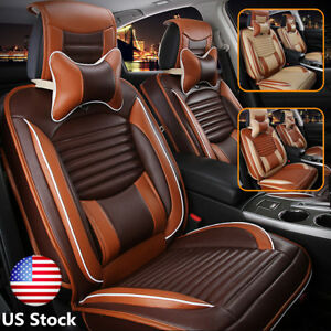 Us Deluxe Pu Leather Seat Covers Front rear pillow Set For Universal 5 seats Car