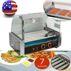 Usa Ship 7rollers Hot Dog Grill Roller Commercial 18 Hotdog Maker Cooker Machine