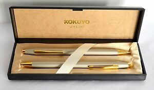New Gift Set Kokuyo Ergonomic Flex Write Ballpoint Pen Mechanical Pencil Pearl