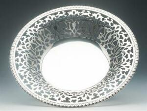 Sterling Silver Fruit Bowl With Intricate Pierced Design Howard