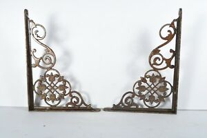 Antique Cast Iron Victorian Brackets Pair Fancy Floral Scroll Old Original Small