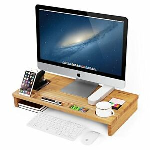 Songmics Bamboo Wood Monitor Stand Computer Riser With Storage Organizer Office