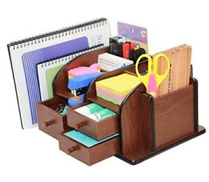 Pag Office Supplies Wood Desk Organizer Pen Mail Holder Accessories Storage Cadd