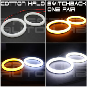 2x 70mm Cotton Led Angel Eye Halo Switchback Light Ring Smd Lamp Drl White Xenon