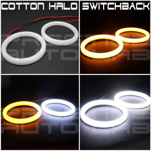 2x 90mm Cotton Led Angel Eye Halo Switchback Light Ring Smd Lamp Drl white Xenon