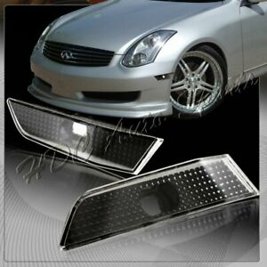 For 2003 2007 Infiniti G35 Coupe Black Housing Clear Bumper Side Marker Lights