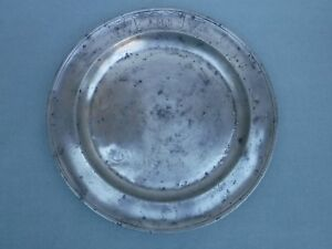 Antique 19th Century 14 Pewter Charger Dated 1848 Monogram