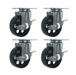 4 All Steel Swivel Plate Caster Wheels W Brake Lock Heavy Duty High gauge Steel