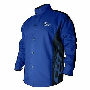 Bsx Flame resistant Welding Jacket Blue With Blue Flames Size Medium
