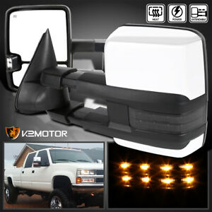For Chevy Gmc 88 98 C K 1500 2500 3500 Led Smoke Signal Power Heated Tow Mirrors