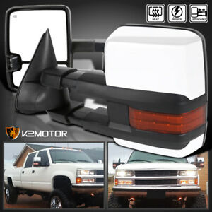 For Chevy Gmc 88 98 Tahoe C K 1500 2500 3500 Led Signal Power Heated Tow Mirrors