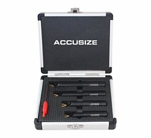 Accusize 1 2 0 5in Round Shank 90 Degree Indexable Boring Bar Set
