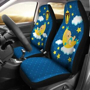Cute Bunny Car Seat Cover Blue Night Set Of 2
