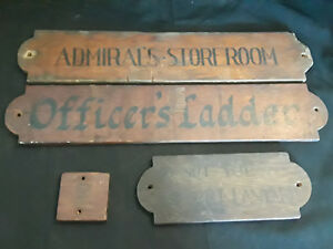 Rare Vtg 4 Pc Wooden Wall Plaques Signs Room Markers From A Ship Room Decor