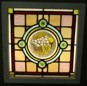 Old English Leaded Stained Glass Window Nice Victorian Handpainted 18 25 X 18 5